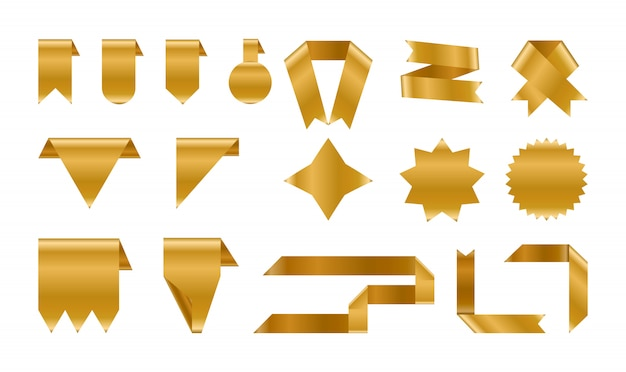 Shiny foil gold labels and ribbon set.