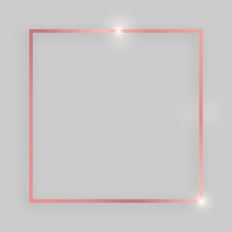 Блестящая рамка со светящимися эффектами. квадратная рамка из розового золота с тенью на сером фоне. векторная иллюстрация