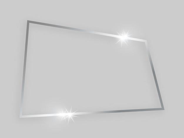 輝く効果のある光沢のあるフレーム。灰色の背景に影付きの銀の四角形のフレーム。ベクトルイラスト