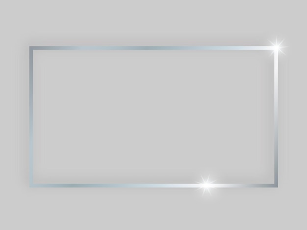 Shiny frame with glowing effects. silver rectangular frame with shadow on grey background. vector illustration