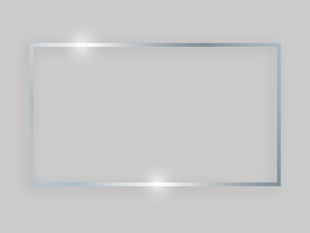 輝く効果のある光沢のあるフレーム。灰色の背景に影と銀の長方形のフレーム。ベクトルイラスト