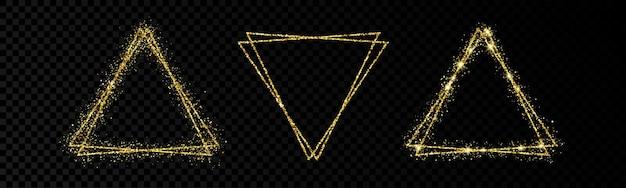 Блестящие рамки со светящимися эффектами. набор из трех блеск золотой двойной треугольник фреймов на прозрачном фоне. векторная иллюстрация