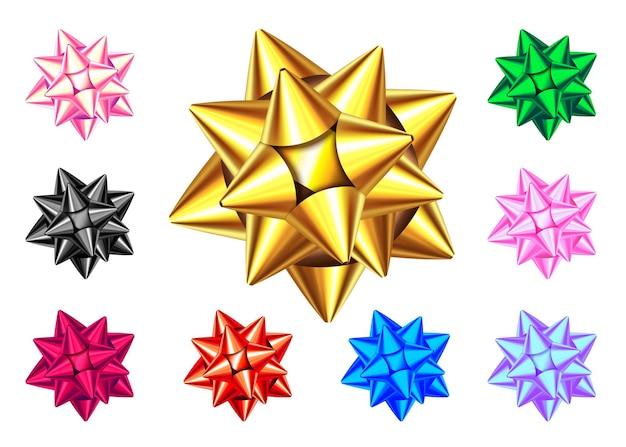 白い背景で隔離の光沢のあるギフトの弓。青、金、赤、緑、ピンク、黒、紫のクリスマス、新年の装飾。バナー、グリーティングカード、ポスターの休日のデザイン要素のベクトルを設定します。