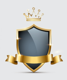 Shiny glass shield, golden crown and ribbon
