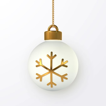 Shiny glitter glowing christmas balls with gold snowflake. xmas glass ball. holiday decoration template. vector illustration.