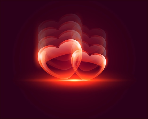 Shiny glossy heart valentines day background