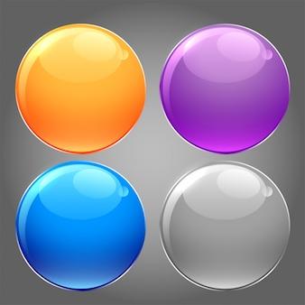 원형 버튼의 반짝 광택 세트