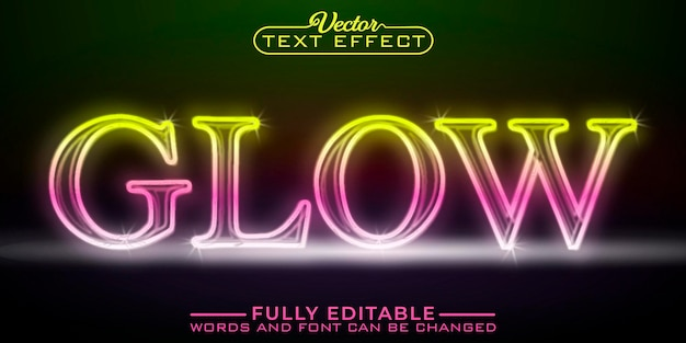 Shiny glow editable text effect template
