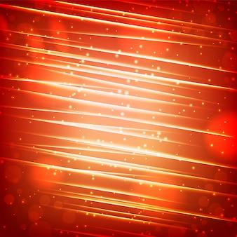 Modello astratto incandescente lucido con travi scintillanti ed effetti di luce su sfondo sfocato