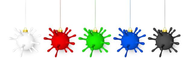赤い弓を持つウイルスユニットのような光沢のある輝くクリスマスボール