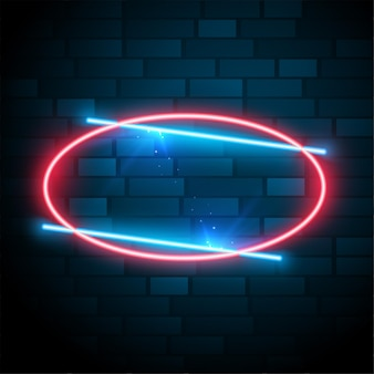 Блестящая светящаяся овальная неоновая рамка с текстовым эффектом
