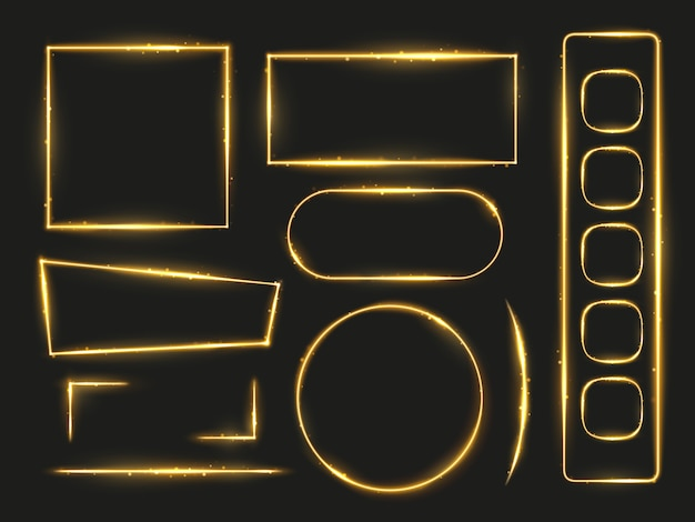 Shiny gold glowing frames and angles vector for holidays design