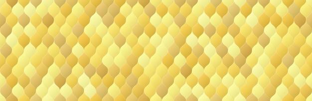 光沢のあるゴールドのグラデーションカラーの鱗片は、シームレスなパターンの背景を形作ります