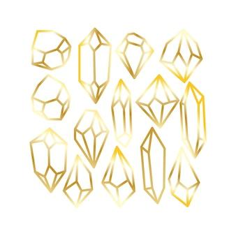 Блестящий золотой контур роскошный кристалл алмаз драгоценный камень искусство