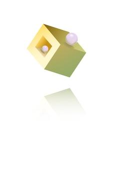 반짝이 골드 다각형 형상 벡터 흰색 배경입니다. 구조 그림 그림입니다. 밝은 아이소메트릭 커버. 노란색 블록 디자인.