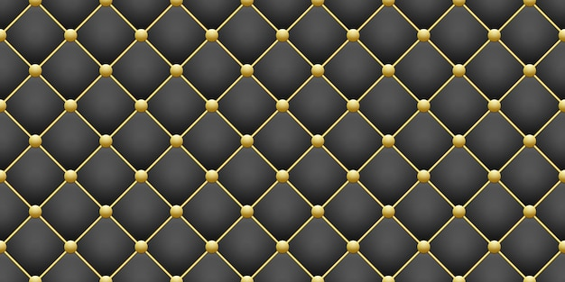 Блестящий золотой круглый и черный квадратный ромб геометрический узор бесшовные