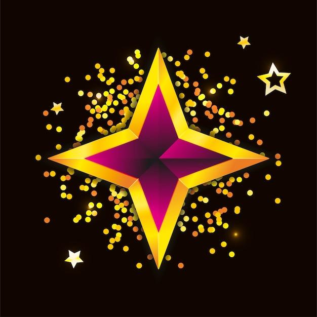 Shiny gold star christmas illustration for design on white background