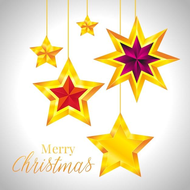 Shiny gold star. christmas illustration for design on white background