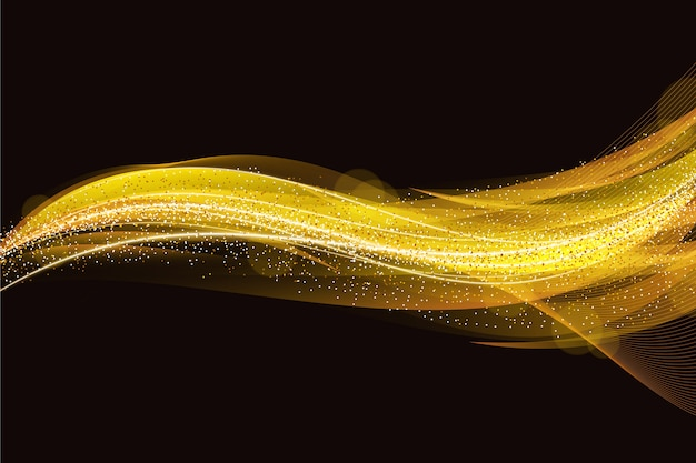 Shiny and gold wave background design