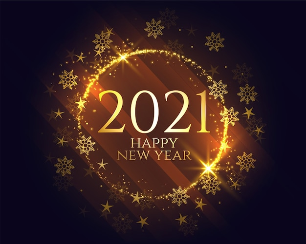 Shiny golden 2021 happy new year snowflakes background