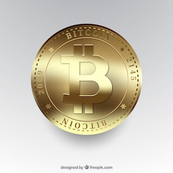 Shiny golden bitcoin background