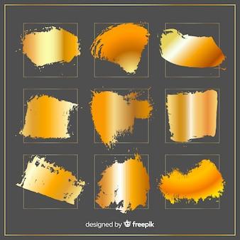 Shiny golden brush stroke pack