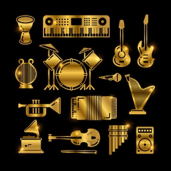 Shiny golden classic music instruments, silhouettes  icons