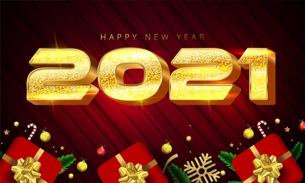 Shiny golden color style 2021 happy new year lettering, gift boxes, gold snowflakes, baubles, stars and pine leaves