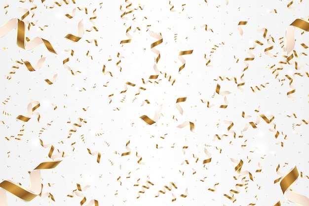 Shiny golden confetti isolated on white