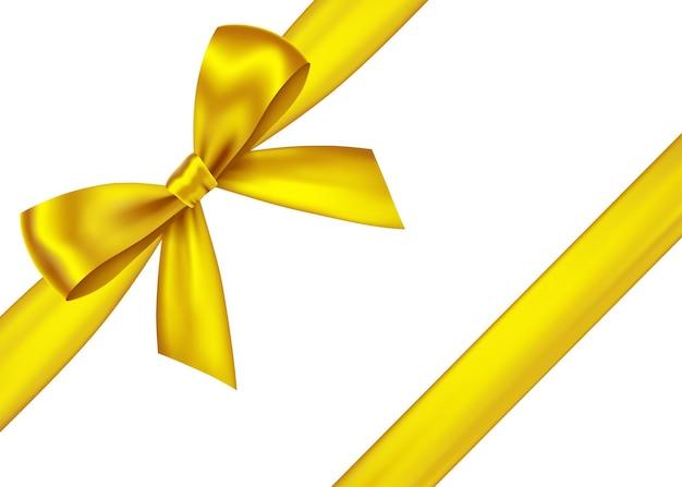 光沢のある金色の装飾的なギフトリボンと弓f