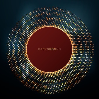 Shiny golden dots in a circle on a dark background.