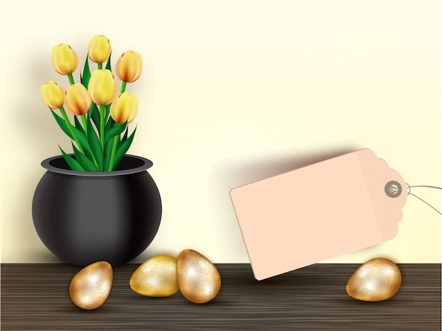 화분 판매 태그와 빛나는 황금 부활절 달걀