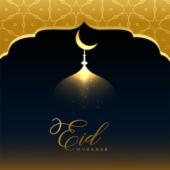 Shiny golden eid mubarak greeting background