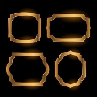 Cornice d'epoca vuota dorata lucida set di quattro