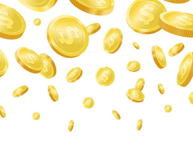 Блестящие золотые падающие монеты фон realisitc