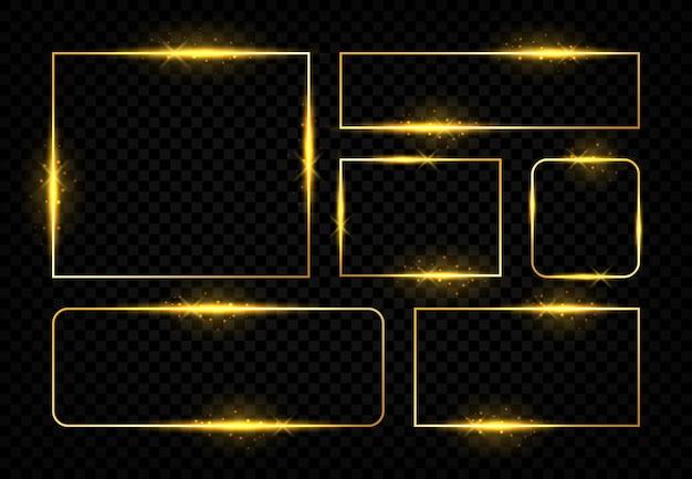 光沢のあるゴールデンフレーム。輝く金色のラインとフレアが付いている正方形の魔法のボーダー。ゴールドのモダンなデザインの電気の未来的なカラーフレーム