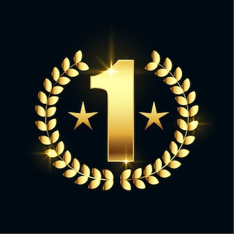 Shiny golden number one star label design