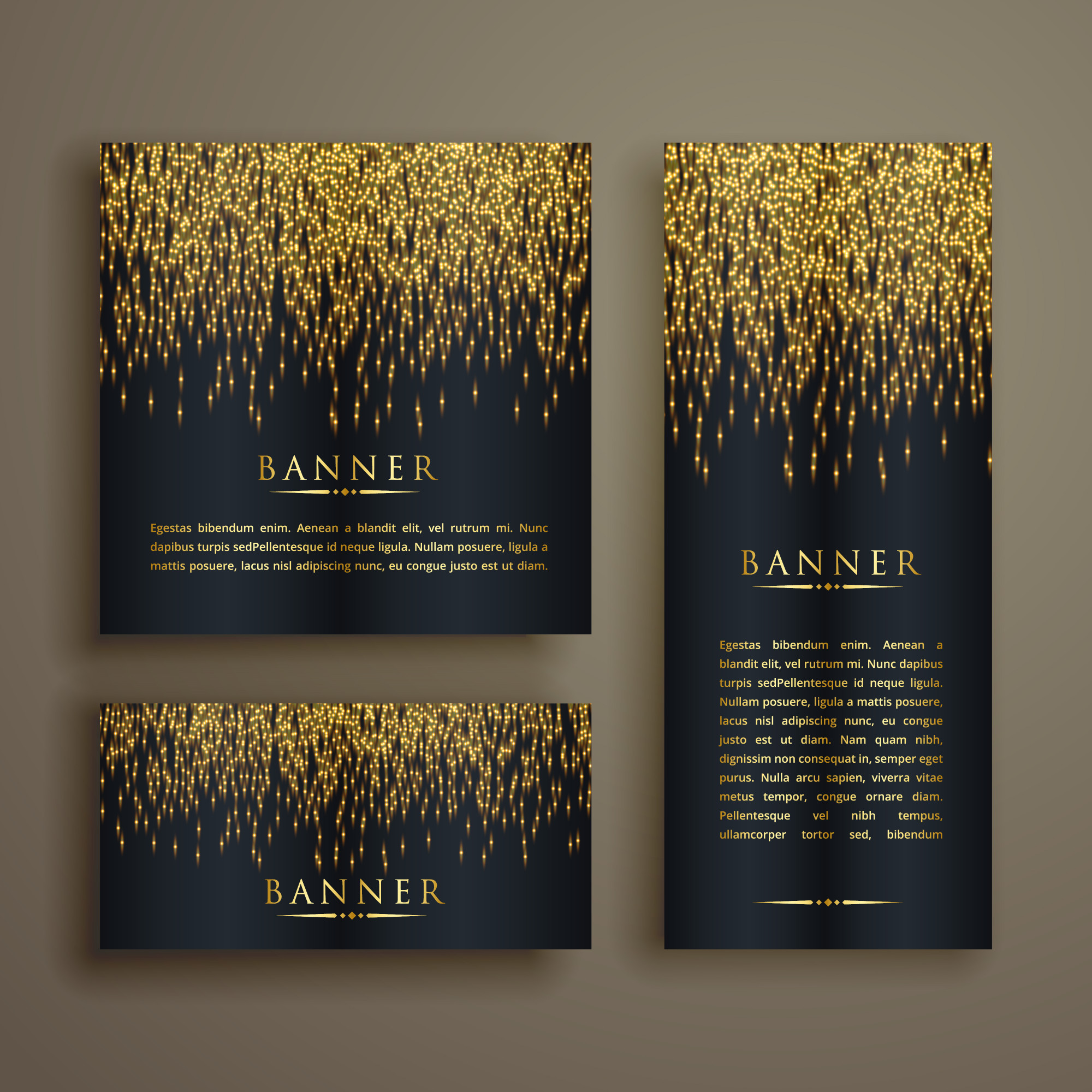 Shiny golden particle style banner set