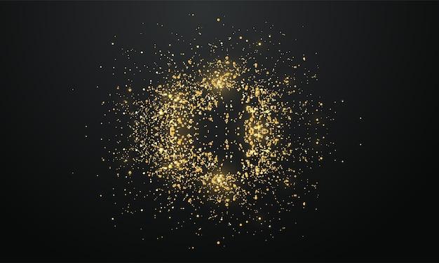 빛나는 황금 입자. 금박 반짝이 프레임