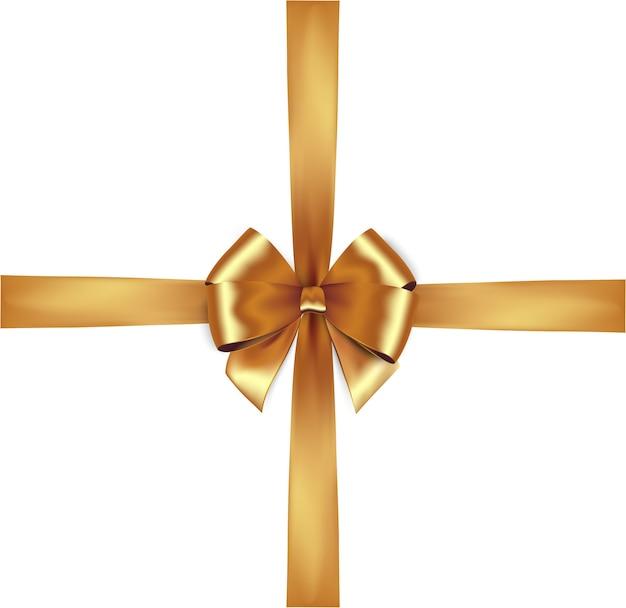 光沢のあるゴールデンサテンリボンが分離されました。金の弓。