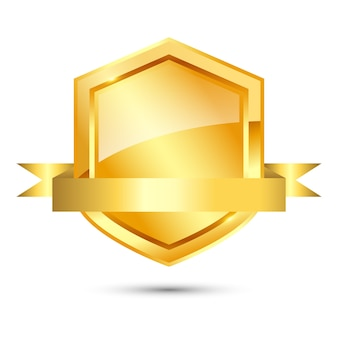 Shiny golden shield with ribbon on white background