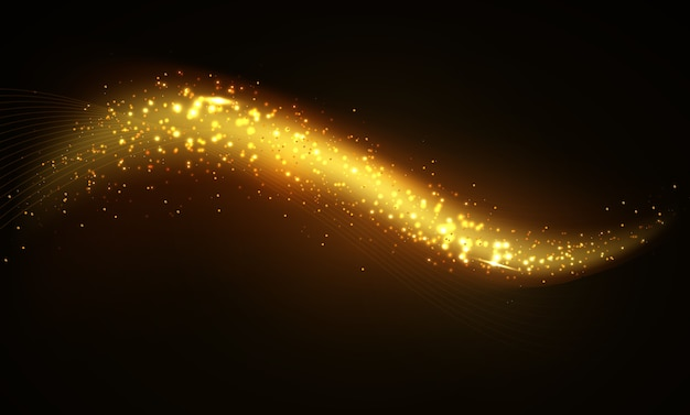 Shiny golden wave dark background
