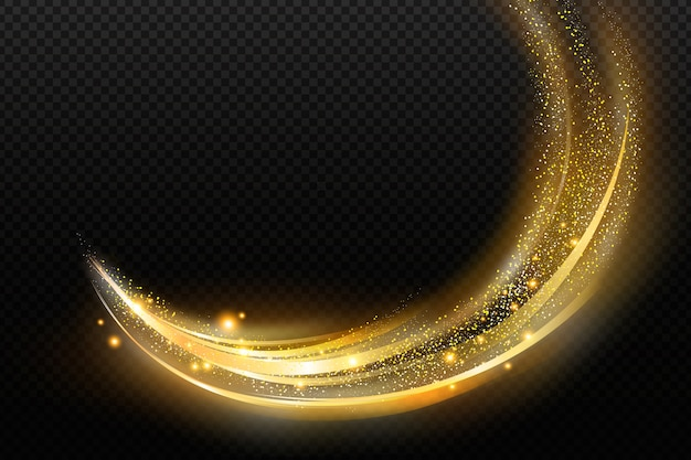 Shiny golden wave transparent background