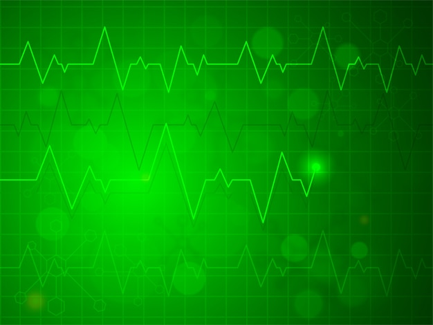 Shiny green heartbeat pulse or electrocardiogram design, creative background for health and medical concept.