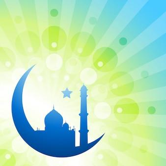 Bella illustrazione vettoriale ramade kareem con la luna e la moschea
