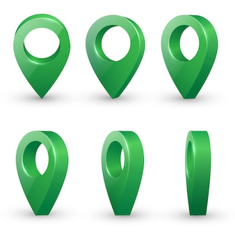 Shiny green metal realistic map pointers vector set in various angles.