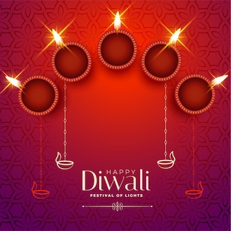 Shiny happy diwali card with text space