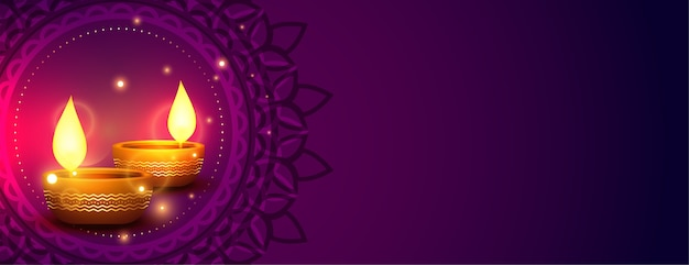 Shiny happy diwali indian style banner with copyspace