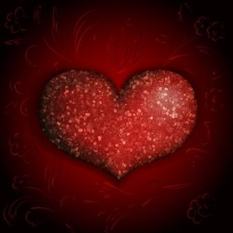 Блестящее сердце на бордовом фоне с цветами и птицами