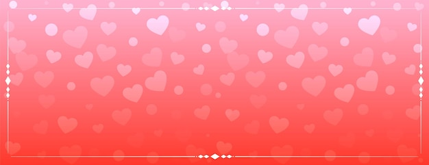 Shiny hearts pattern banner design
